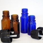 Brown and Blue Glass dripper bottles
